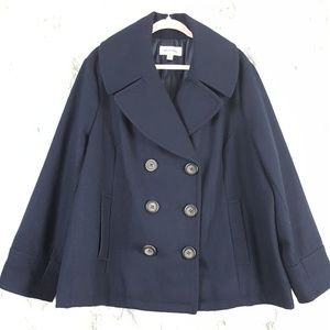 Merona Navy Blue Wool Blend Pea Coat 24W/26W